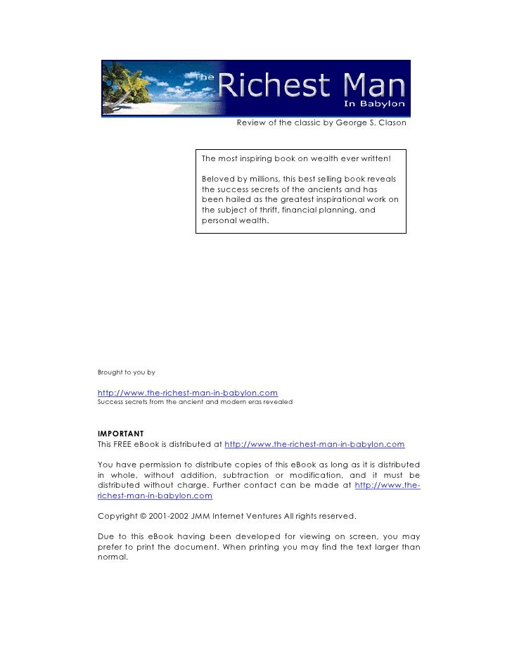 Review of the classic by George S. Clason                                  The most inspiring book on wealth ever written!...