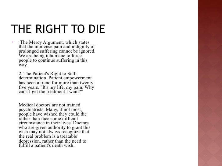 euthanasia the right to die essay Lit/chicago-kent law review volume 51 summer 1974 number 1 euthanasia and the right to die-moral, ethical and legal perspectives bruce vodiga.