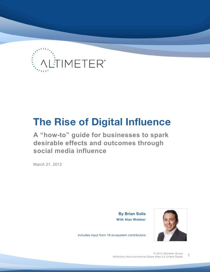 """The Rise of Digital Influence       A """"how-to"""" guide for businesses to spark       desirable effects and outcomes ..."""