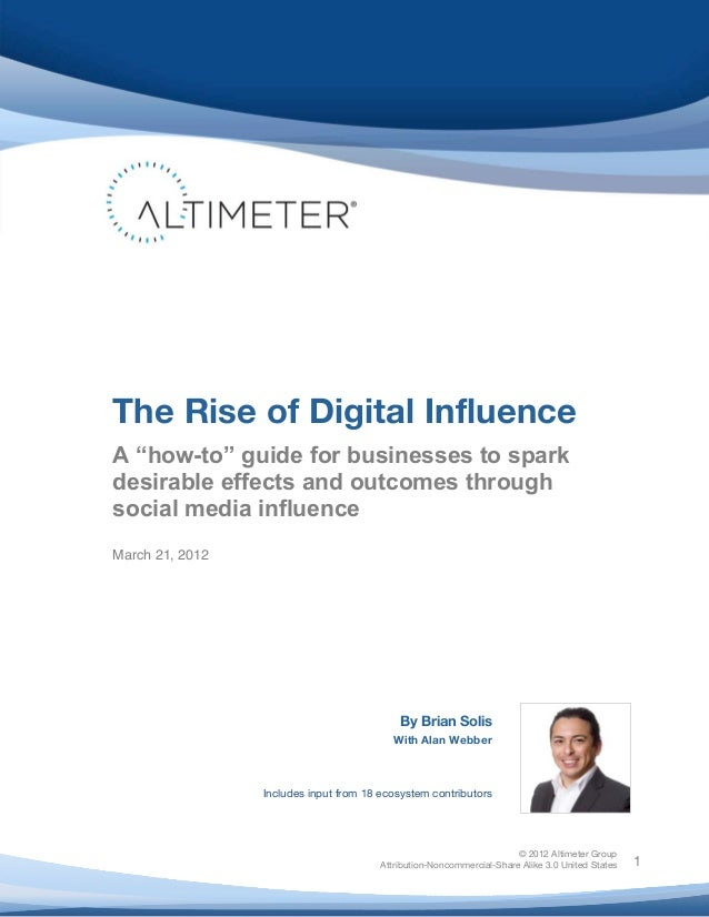 "!    The Rise of Digital Influence    A ""how-to"" guide for businesses to spark    desirable effects and outcomes through  ..."
