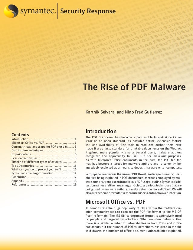 Security Response  The Rise of PDF Malware Karthik Selvaraj and Nino Fred Gutierrez  Contents  Introduction..................
