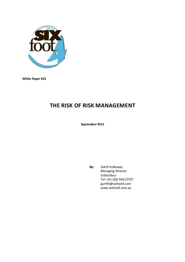 The risk of risk management