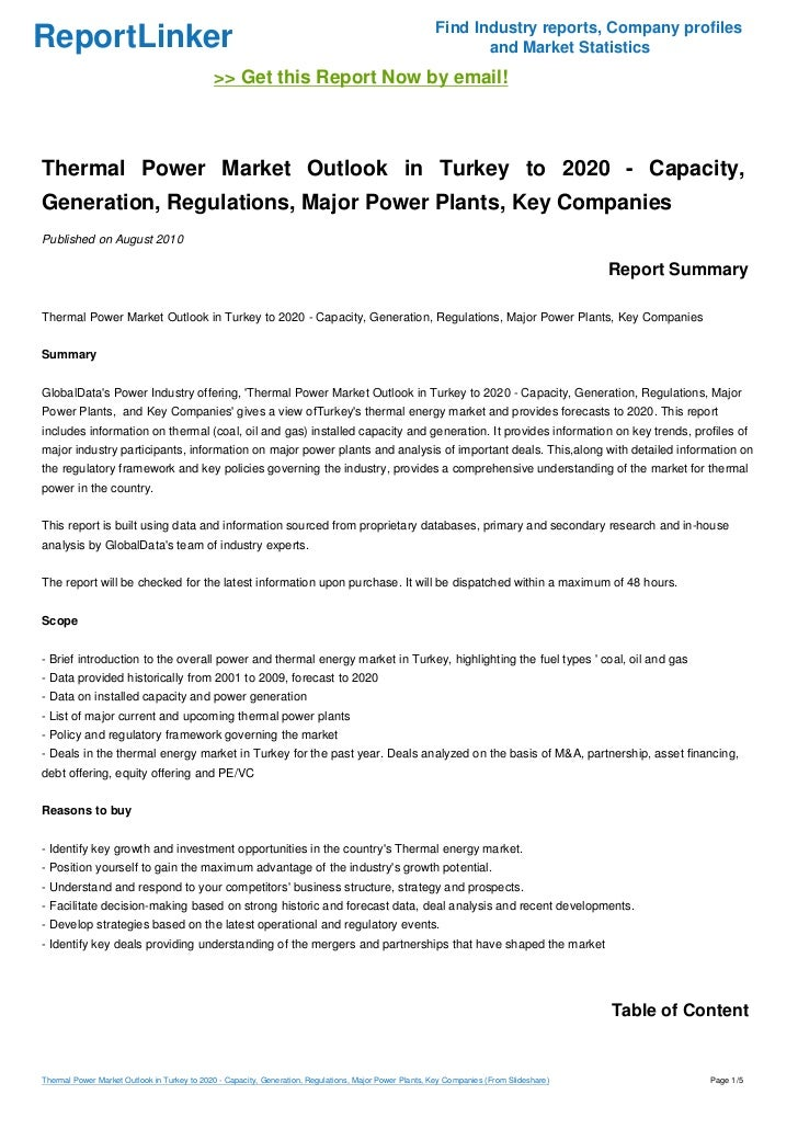 Thermal Power Market Outlook in Turkey to 2020 - Capacity, Generation, Regulations, Major Power Plants, Key Companies