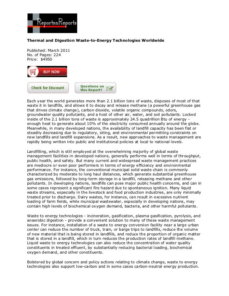 Thermal and Digestion Waste-to-Energy Technologies WorldwidePublished: March 2011No. of Pages: 224Price: $4950Each year th...