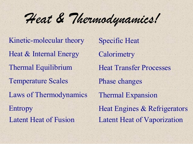 Heat & Thermodynamics! Kinetic-molecular theory  Specific Heat  Heat & Internal Energy  Calorimetry  Thermal Equilibrium  ...