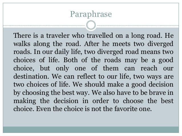Analysis essay the road not taken