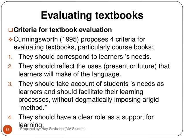 textbook evaluation Textbook provides a useful table of contents, glossary & index layout is consistent and chapters are arranged logically textbook evaluation tool.