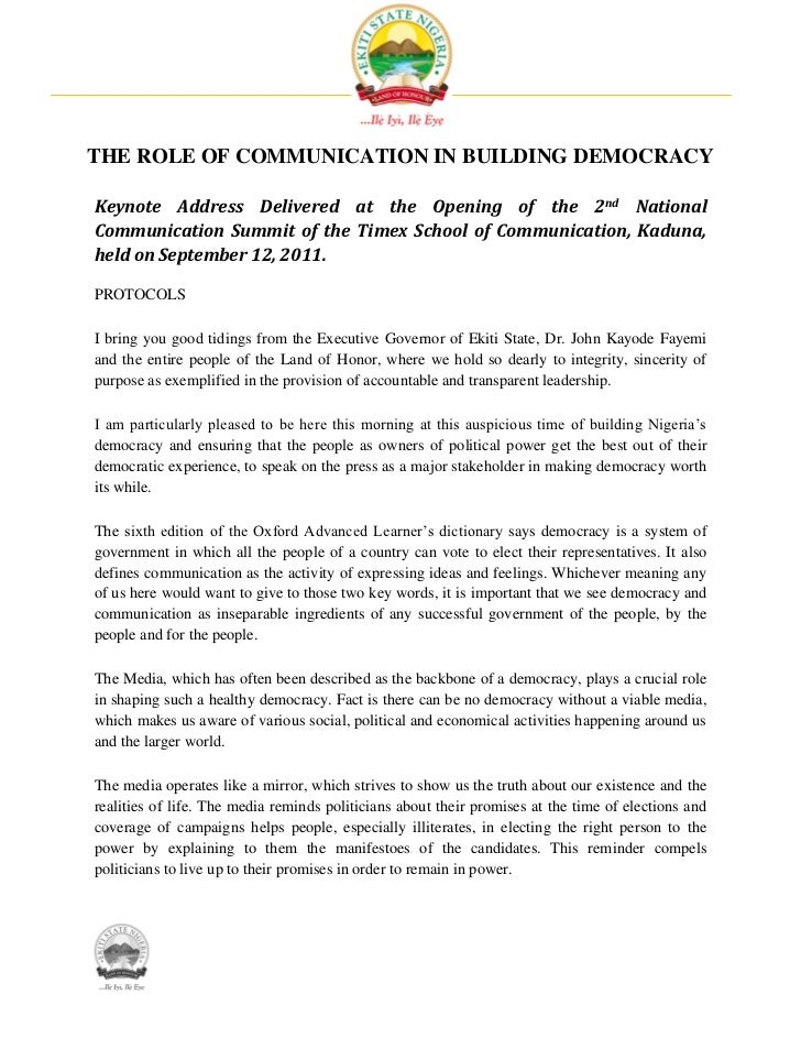 THE ROLE OF COMMUNICATION IN BUILDING DEMOCRACYKeynote Address Delivered at the Opening of the 2nd NationalCommunication S...