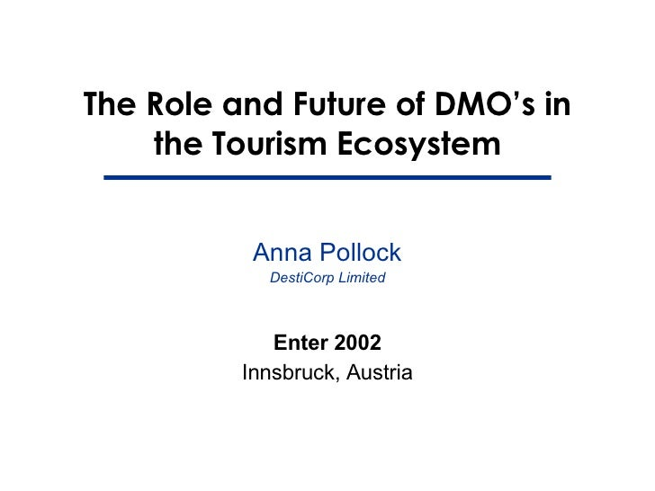 The Role and Future of DMO's in the Tourism Ecosystem Enter 2002 Innsbruck, Austria Anna Pollock DestiCorp Limited
