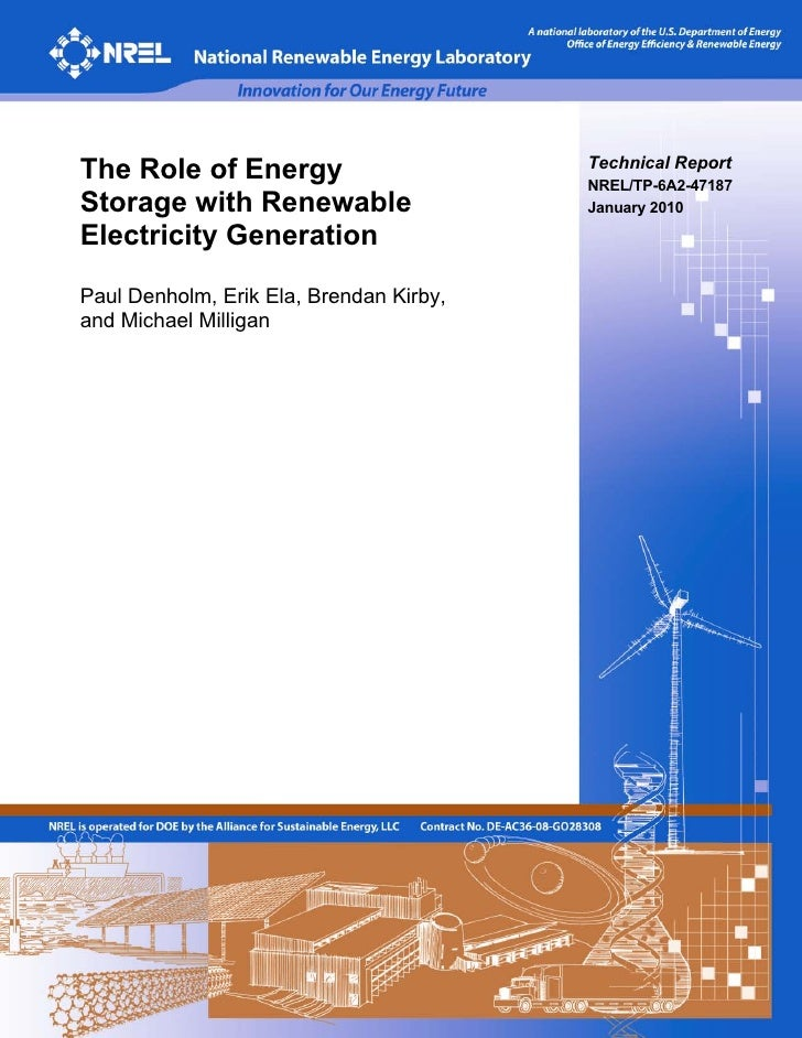 The Role of Energy                       Technical Report                                          NREL/TP-6A2-47187 Stora...