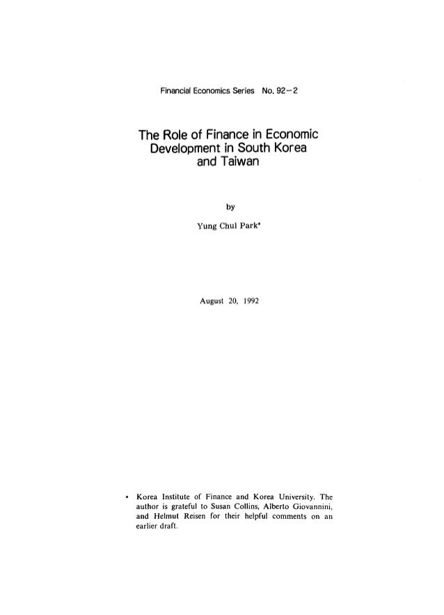 The role of finance in economic development in south korea and taiwan