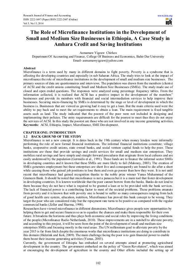 The role of microfinance institutions in the development of small and medium size businesses in ethiopia, a case study in amhara credit and saving institutions