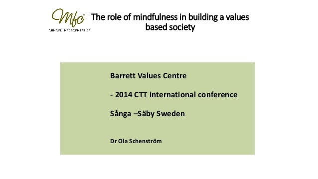 The role of mindfulness in building a values based society Barrett Values Centre - 2014 CTT international conference Sånga...