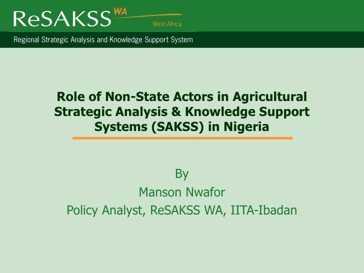 Role of Non-State Actors in AgriculturalStrategic Analysis & Knowledge Support      Systems (SAKSS) in Nigeria            ...