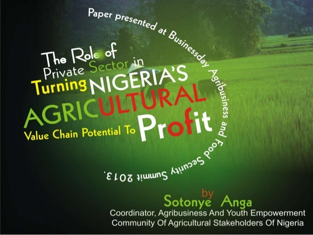 The role of private sector in turning nigeria's agricultural potential to profit by sotonye anga