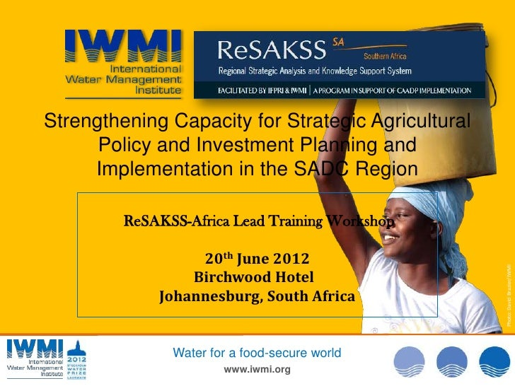 The role of re sakss in monitoring agric trends in southern africa