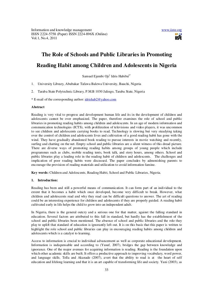 The role of schools and public libraries in promoting reading habit among children and adolescents in nigeria