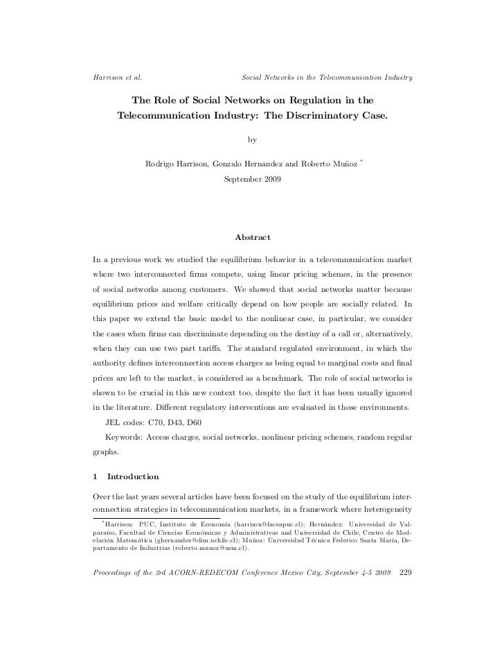 The role of social networks on regulation in the telecommunication industry the discriminatory case   rodrigo harrison, gonzalo hernandez and roberto muñoz (2009)