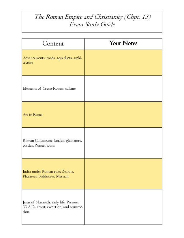The Roman Empire and Christianity (Chpt. 13) Exam Study Guide  Content Advancements: roads, aqueducts, architecture  Eleme...