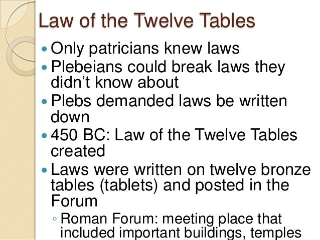 The roman republic lecture for 12 table laws