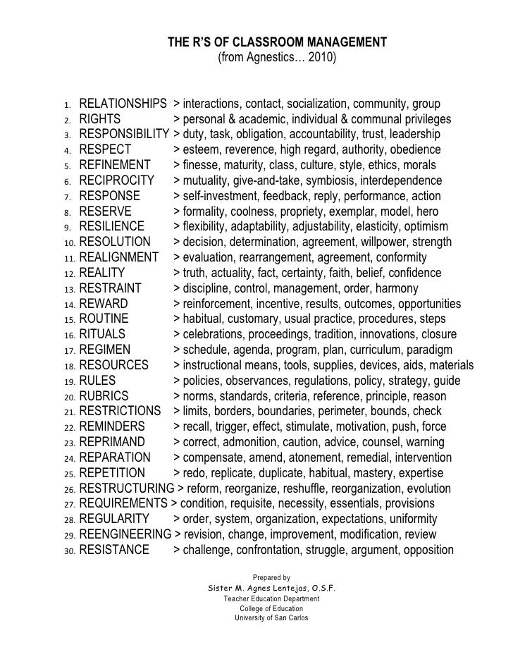 THE R'S OF CLASSROOM MANAGEMENT                             (from Agnestics… 2010)   1.  RELATIONSHIPS > interactions, con...