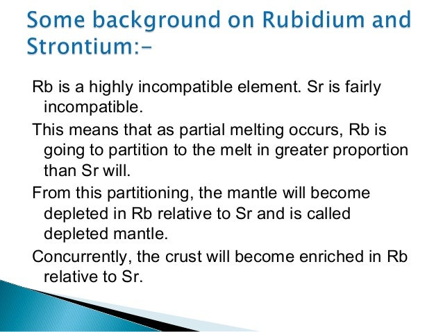 development of rubidium strontium dating Rubidiuom and stronztiulm concentrations and strontium isotopic compositions have been measutred on whole rock samples and density fractions of microgabbro density.