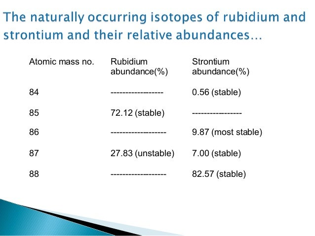 rubidium dating Following this, you can repeat these steps to estimate the age of the earth rubidium-strontium dating rubidium (87 rb) decays to strontium .