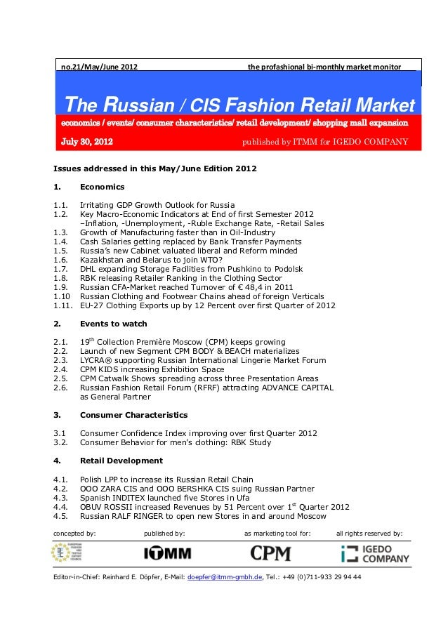 no.21/May/June 2012                                    the profashional bi-monthly market monitor     The Russian / CIS Fa...