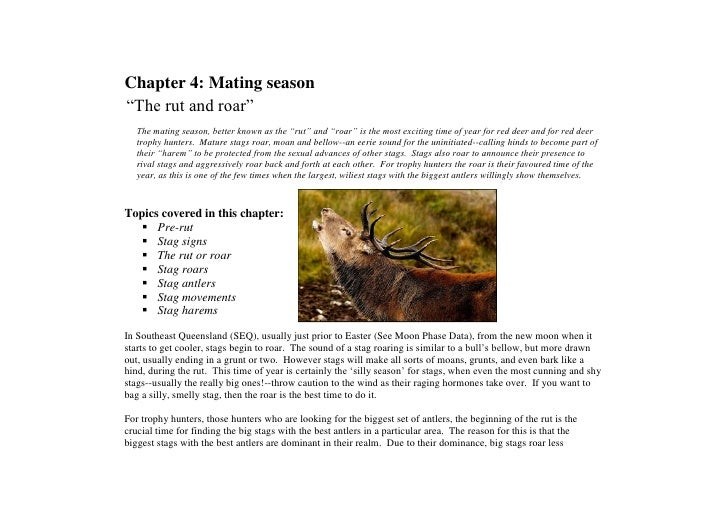 "Chapter 4: Mating season ""The rut and roar""    The mating season, better known as the ""rut"" and ""roar"" is the most excitin..."