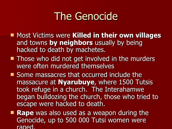 a report on the genocide in rwanda The first case study, genocide of rwandan tutsis 1994, depicts the msf  the  case studies draw from internal field reports, press articles,.