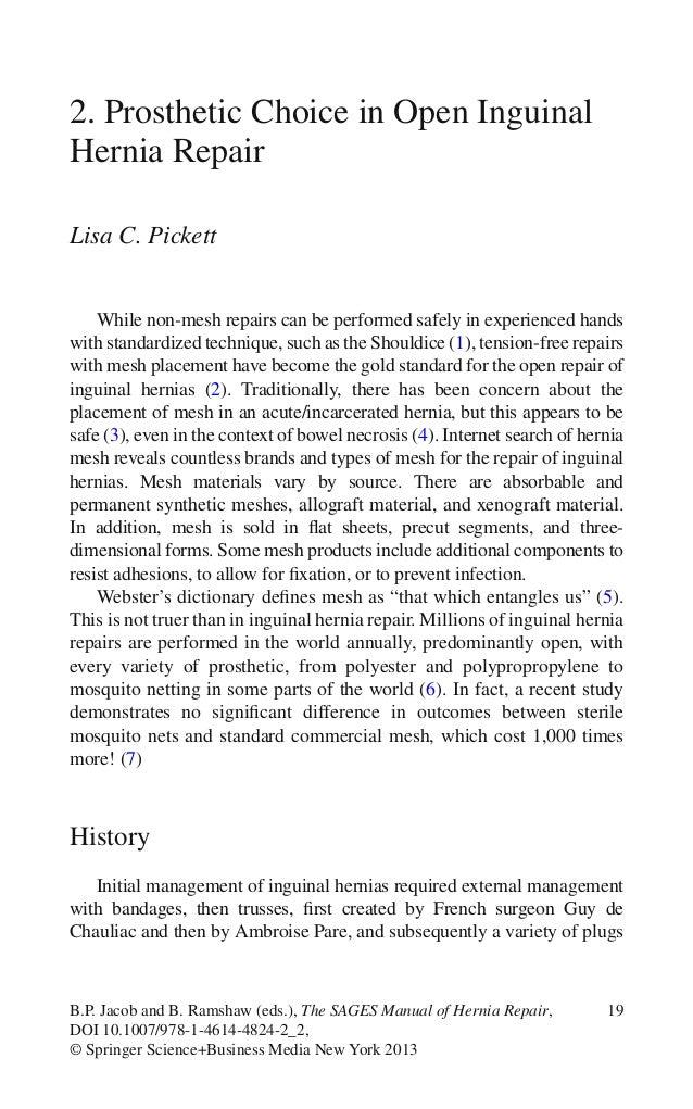 19B.P. Jacob and B. Ramshaw (eds.), The SAGES Manual of Hernia Repair,DOI 10.1007/978-1-4614-4824-2_2,© Springer Science+B...