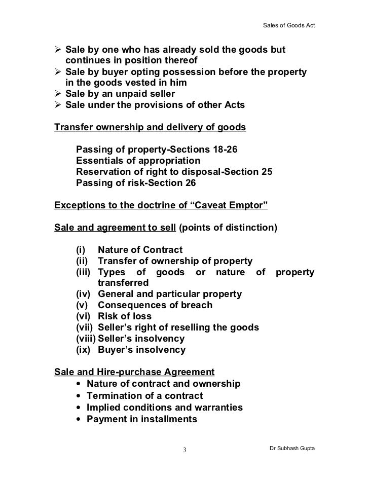 Nature Of Contract Of Sale Of Goods