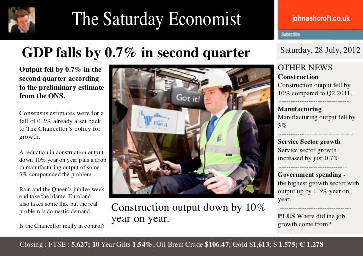 The Saturday Economist                                             johnashcroft.co.uk GDP falls by 0.7% in second quarter ...