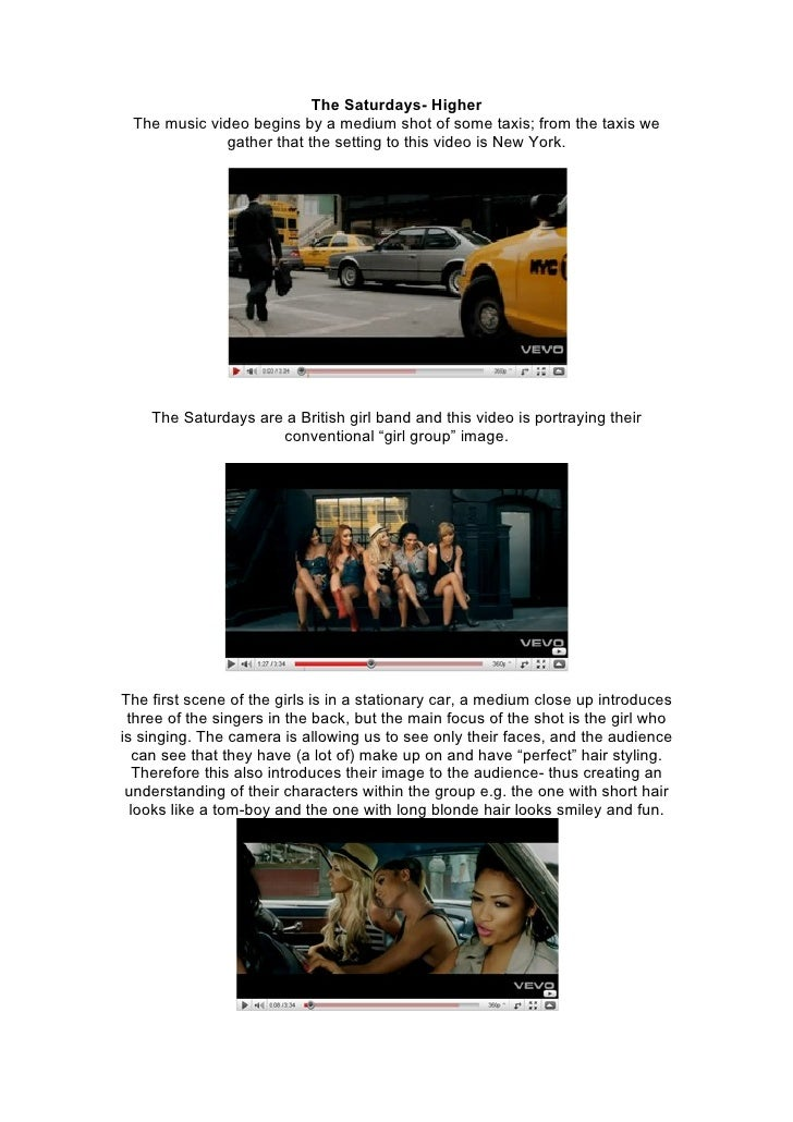 The Saturdays- Higher  The music video begins by a medium shot of some taxis; from the taxis we               gather that ...
