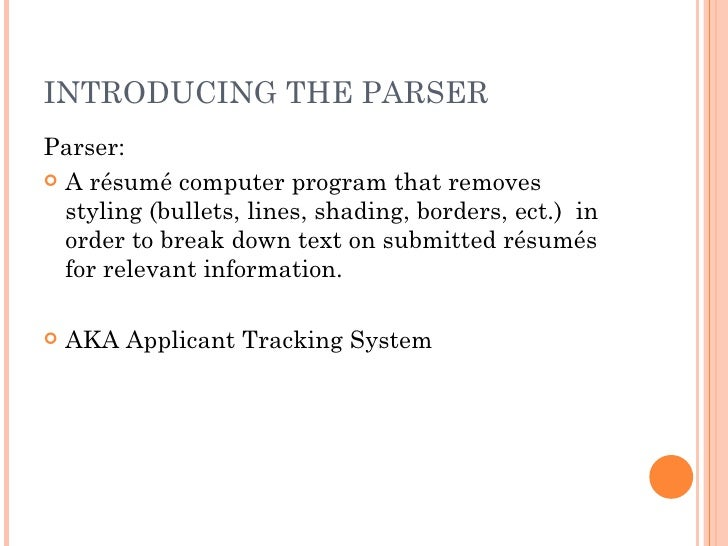 Definition of scannable resume