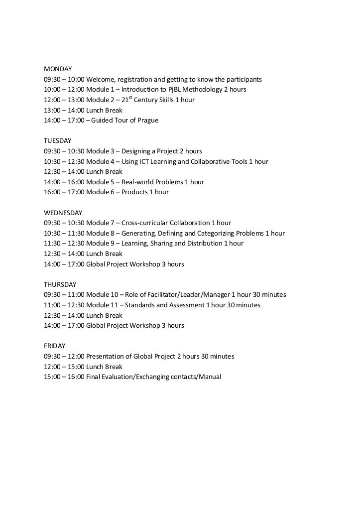 The Schedule of ITC Course