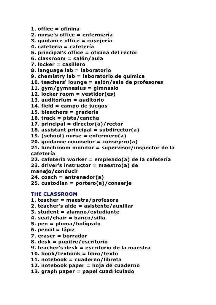 1. office = ofinina 2. nurse's office = enfermería 3. guidance office = cosejería 4. cafeteria = cafetería 5. principal's ...