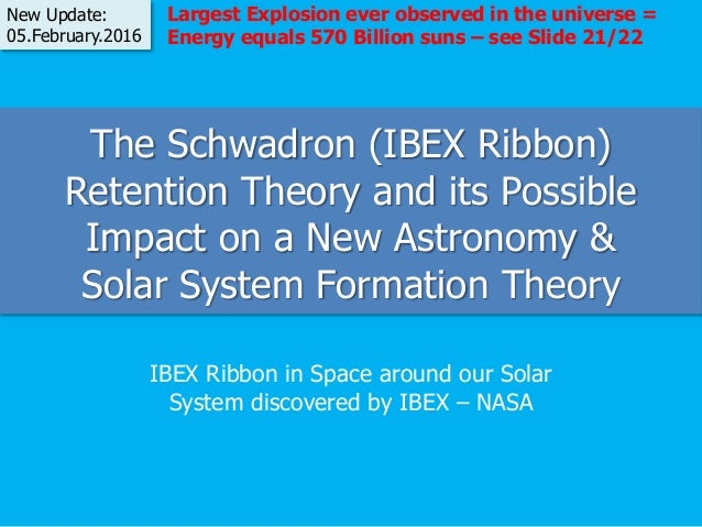The Schwadron (IBEX Ribbon) Retention Theory and its Possible Impact on a New Astronomy & Solar System Formation Theory IB...