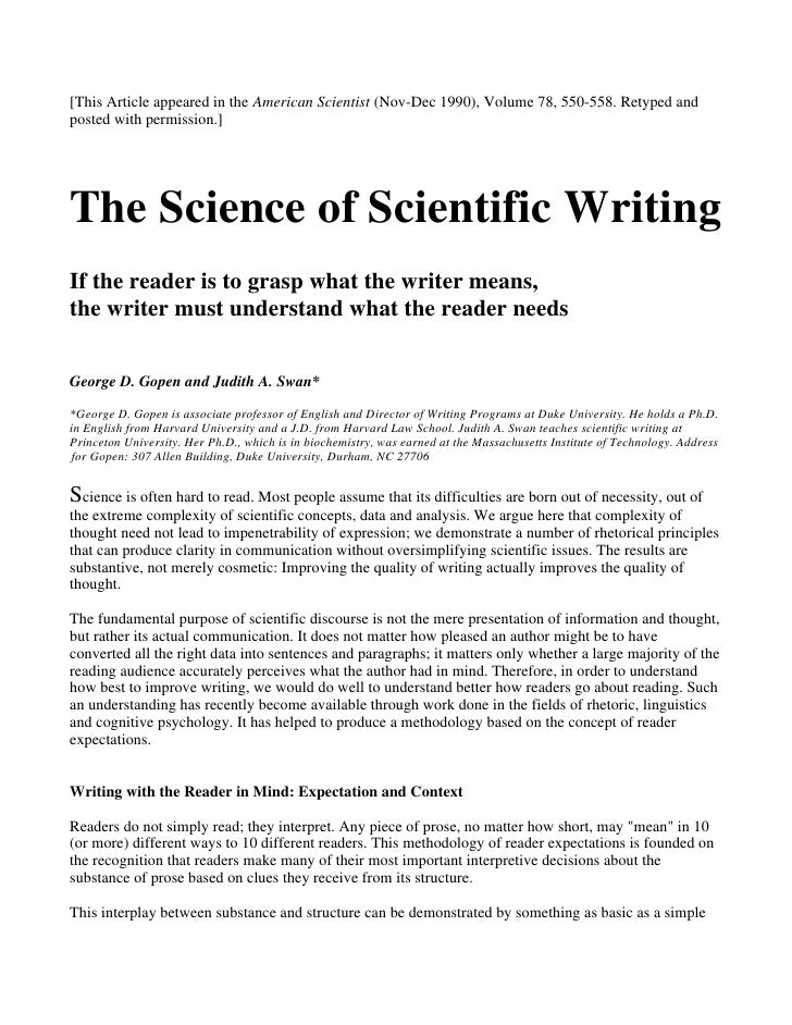 The science of scientific writing (1)