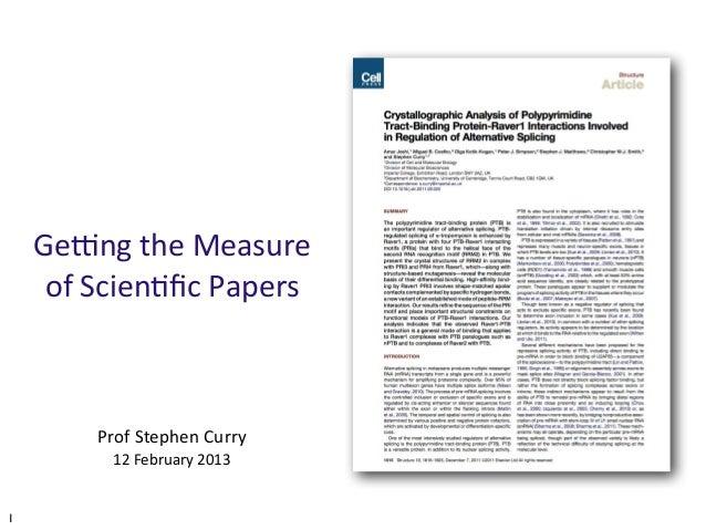 The Scientific Literature (UG lecture, Feb 2013)