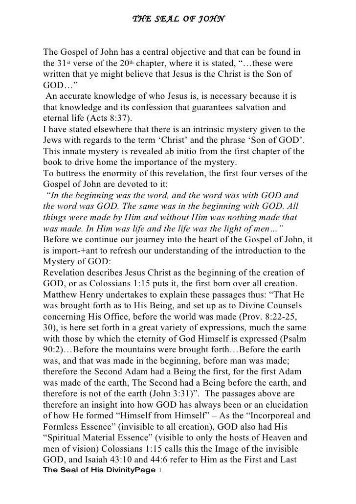 divinity of Jesus seal of john