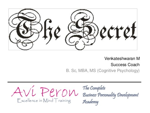 Venkateshwaran M Success Coach B. Sc, MBA, MS (Cognitive Psychology)