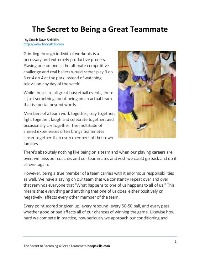 The Secret to Being a Great Teammate -by Coach Dave Stricklin http://www.hoopskills.com  Grinding through individual worko...