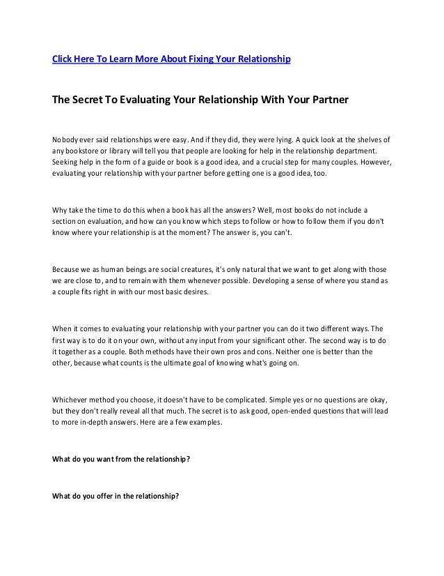 Click Here To Learn More About Fixing Your Relationship The Secret To Evaluating Your Relationship With Your Partner Nobod...