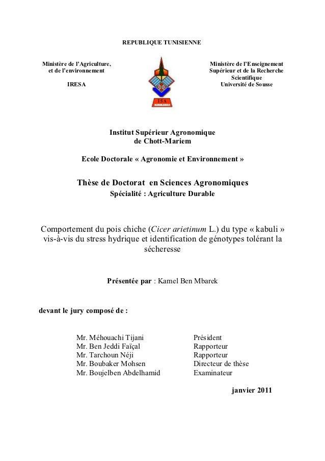 REPUBLIQUE TUNISIENNE Ministère de l'Agriculture,                                           Ministère de l'Enseignement  e...