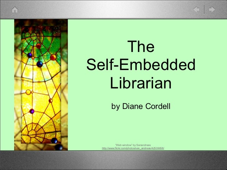"TheSelf-Embedded   Librarian        by Diane Cordell             ""Web window"" by Sanandreas http://www.flickr.com/photos/s..."