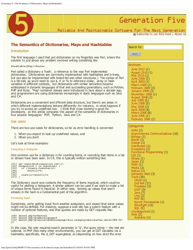 Generation 5 » The Semantics of Dictionaries, Maps and Hashtables   Subscribe to our RSS Feed | About Us  The Semantics of...