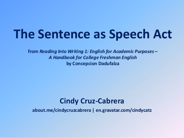 The Sentence as Speech Act from Reading Into Writing 1: English for Academic Purposes – A Handbook for College Freshman En...