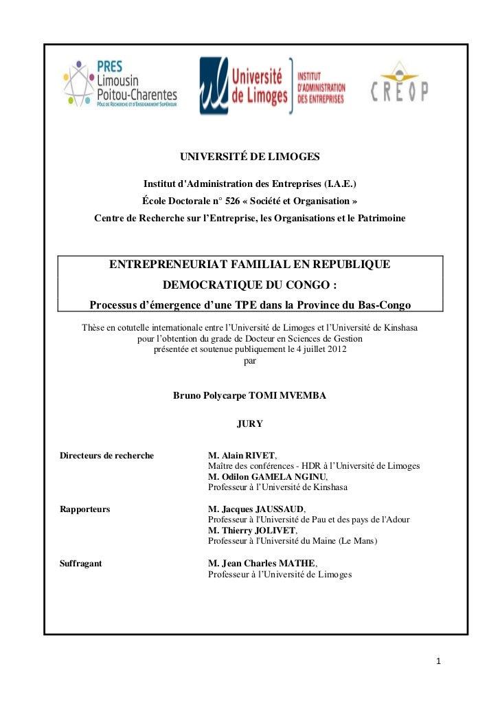 UNIVERSITÉ DE LIMOGES                     Institut dAdministration des Entreprises (I.A.E.)                     École Doct...