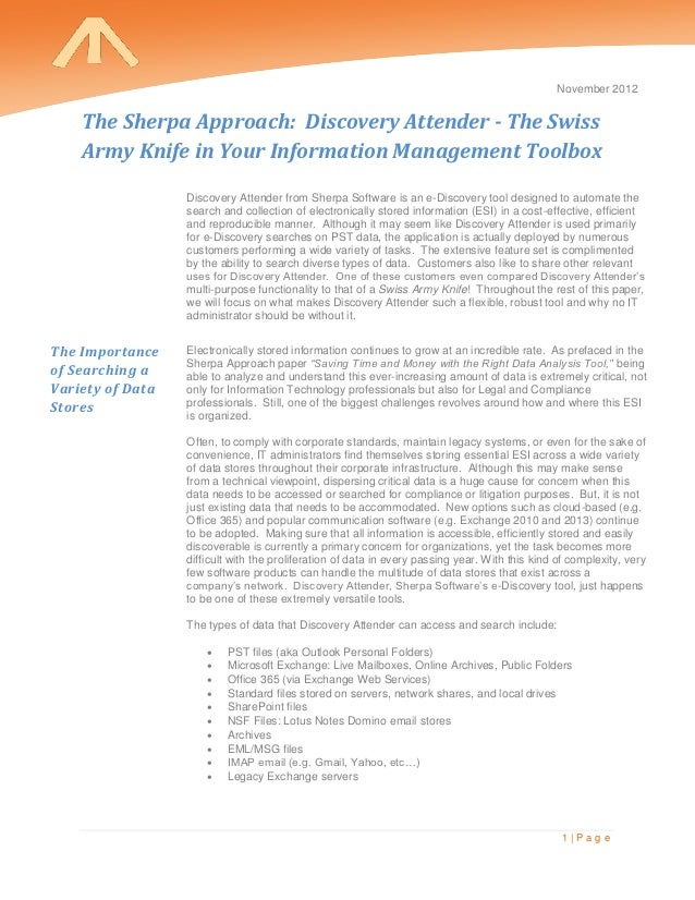 November 2012    The Sherpa Approach: Discovery Attender - The Swiss    Army Knife in Your Information Management Toolbox ...